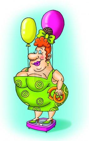 Photo pour Grosse femme avec des ballons - image libre de droit
