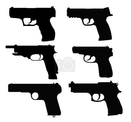 Illustration pour Pistolets sur fond blanc - image libre de droit