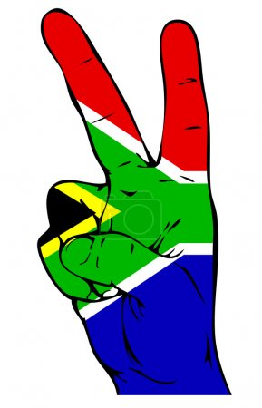 Illustration for Peace Sign of the South African Flag - Royalty Free Image