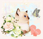 Valentines day greeting card with kitten butterfly and roses
