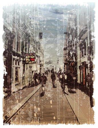 Illustration pour Illustration de rue de la ville. Style aquarelle . - image libre de droit