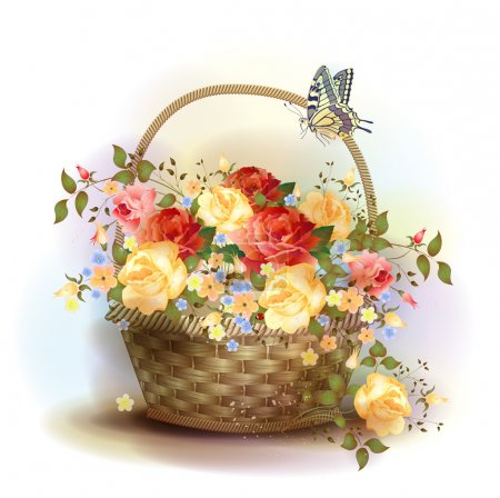 Illustration for Wicker basket with roses. Victorian style. - Royalty Free Image