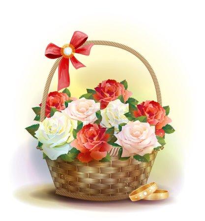 Illustration pour Carte de mariage. Bagues et panier en osier avec roses . - image libre de droit