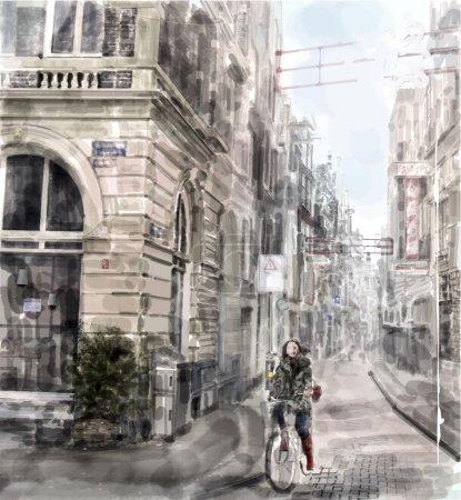 Illustration pour Illustration de rue de la ville. Une fille sur le vélo. Style aquarelle . - image libre de droit