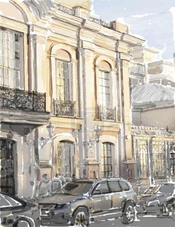 Illustration pour Illustration aquarelle du paysage urbain - image libre de droit