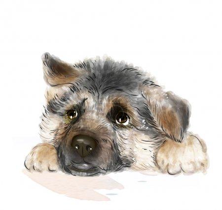 Illustration pour Portrait du chiot berger allemand - image libre de droit