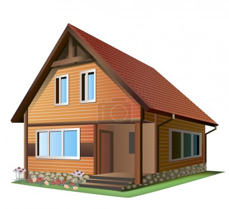 Illustration for Vector Illustration of �� small house with tile roof on a white background - Royalty Free Image