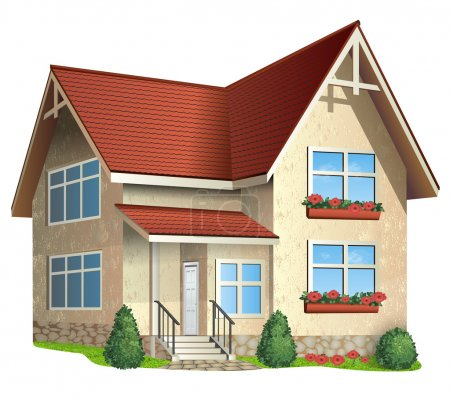 Illustration for Vector Illustration of house with tile roof on a white background - Royalty Free Image