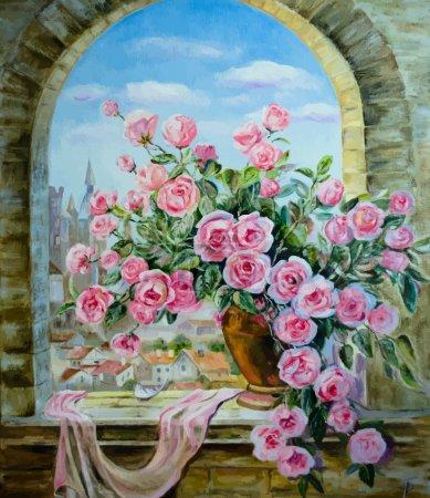 Illustration pour Peintures à l'huile vectorielles sur toile : un bouquet de pivoines à la fenêtre - image libre de droit