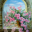 Постер, плакат: Bouquet of peonies at the window