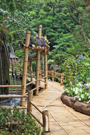 Bamboo path around the fountain