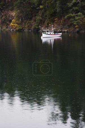 Snow-white yacht in a gulf under an autumn rain