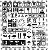 Cardboard box symbols set
