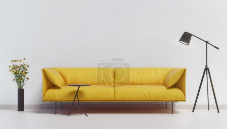 Photo for Yellow couch against a white wall with a lamp and flowers - Royalty Free Image
