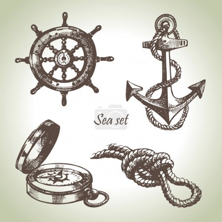 Sea set of nautical design elements