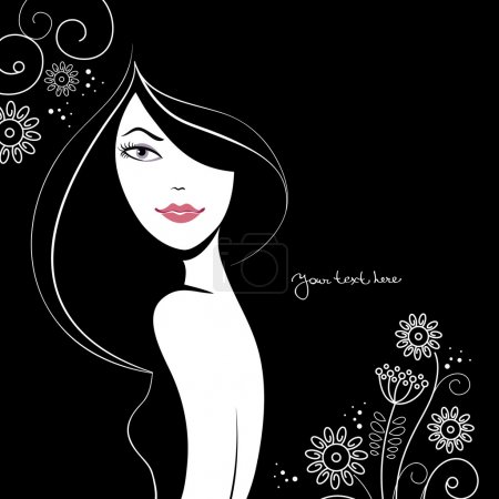 Illustration for Beautiful woman silhouette with a flowers - Royalty Free Image