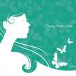 Background with beautiful girl silhouette...
