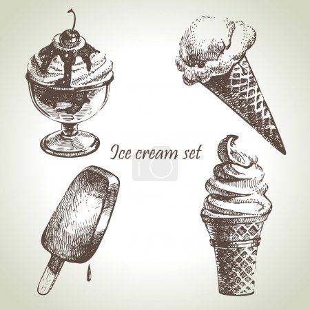 Illustration pour Ensemble de glace. Illustrations dessinées main - image libre de droit