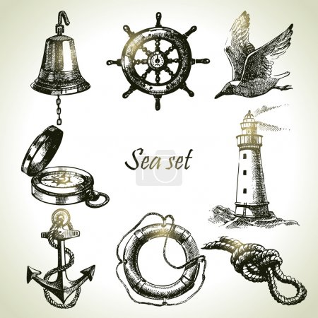 Illustration for Sea set of nautical design elements. Hand drawn illustrations - Royalty Free Image