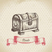 Truhla s pokladem. ručně tažené ilustrace