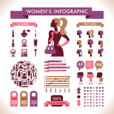 Illustration for Beautiful Women's Infographic & Symbols - Royalty Free Image