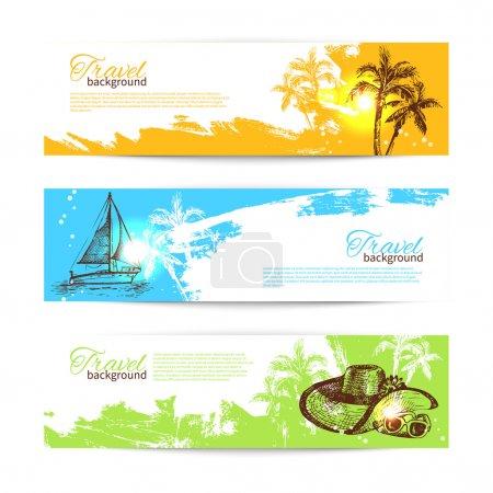 Banner set of travel colorful tropical splash backgrounds