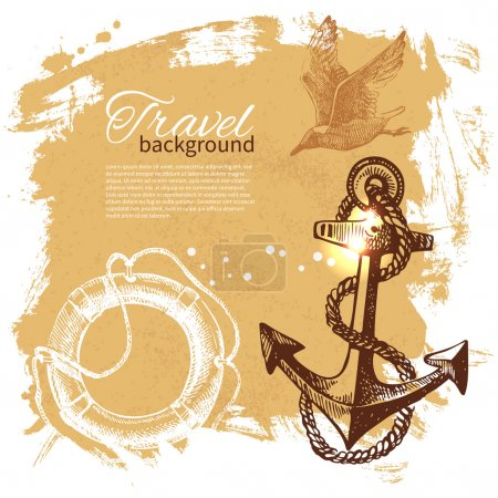 Travel vintage background. Sea nautical design. Hand drawn illus