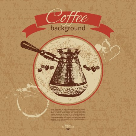 Hand drawn vintage coffee background. Menu for restaurant, cafe,