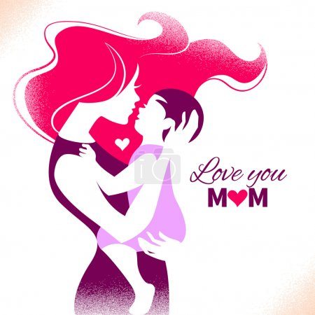Happy Mother's Day. Card with beautiful silhouette of mother and