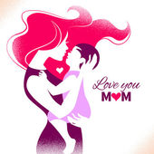 Happy Mother's Day Card with beautiful silhouette of mother and