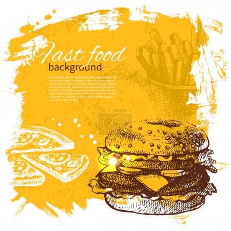 Illustration for Vintage fast food background. Hand drawn illustration - Royalty Free Image
