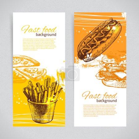 Illustration pour Bannières de conception de restauration rapide. Illustrations dessinées à la main. Splash blob milieux - image libre de droit