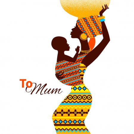 Illustration for Beautiful silhouette of black african mother and baby in retro style. Cards of Happy Mother's Day - Royalty Free Image