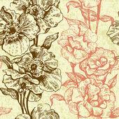 Vintage seamless floral pattern. Hand drawn illustration