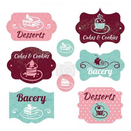 Vintage-Etiketten für Bäckereien. Vintage-Rahmen mit Cupcakes