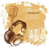Music vintage background Hand drawn illustration