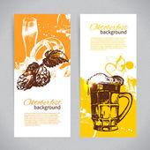 Bannery oktoberfest pivo designu. ručně tažené ilustrace
