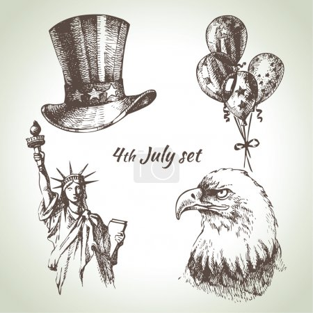4th of July set. Independence Day of America