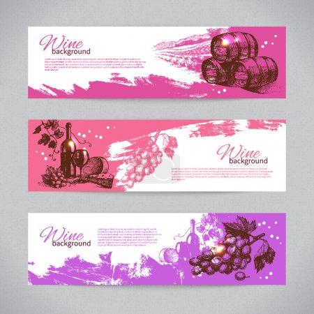 Illustration pour Bannières de fond vintage de vin. Illustrations dessinées main - image libre de droit