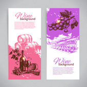 Banners of wine vintage background Hand drawn illustrations