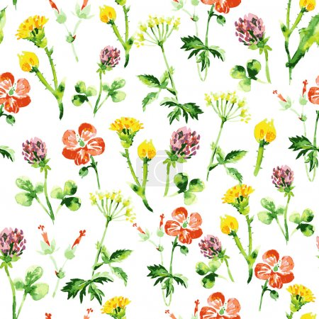 Illustration for Watercolor floral seamless pattern. Vintage retro summer background with wildflowers - Royalty Free Image