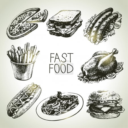 Illustration for Fast food set. Hand drawn illustrations - Royalty Free Image