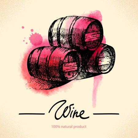 Illustration pour Fond vintage de vin. Aquarelle illustration dessinée à la main - image libre de droit