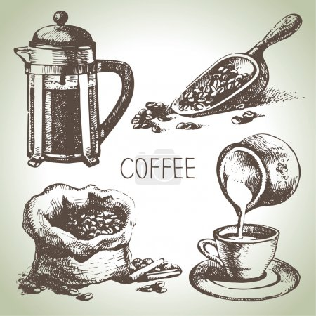 Illustration pour Ensemble de café dessiné à la main - image libre de droit