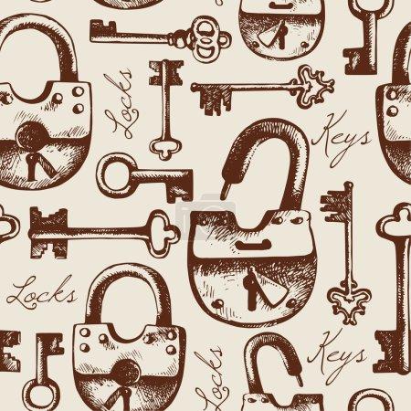 Hand drawn locks and keys