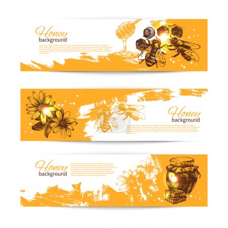 Set of honey banners with hand drawn sketch illust...
