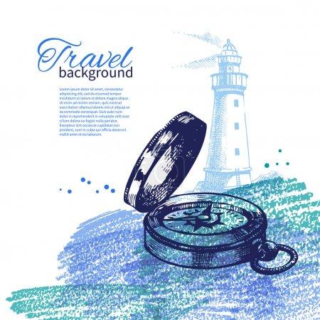Travel vintage background. Sea nautical design