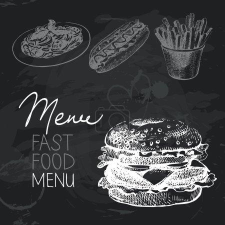 Fast food hand drawn chalkboard design set