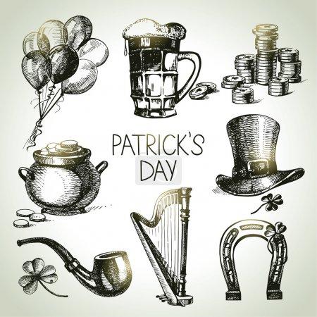 Illustration pour La Saint-Patrick est prête. Illustrations dessinées main - image libre de droit