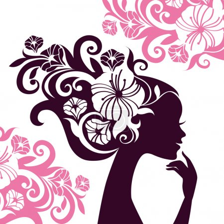 Beautiful woman silhouette with flowers...
